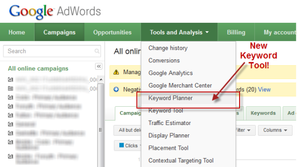 Keywords on Google AdWords