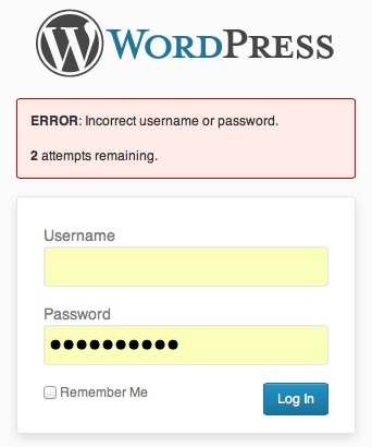 Wordpress login attempts