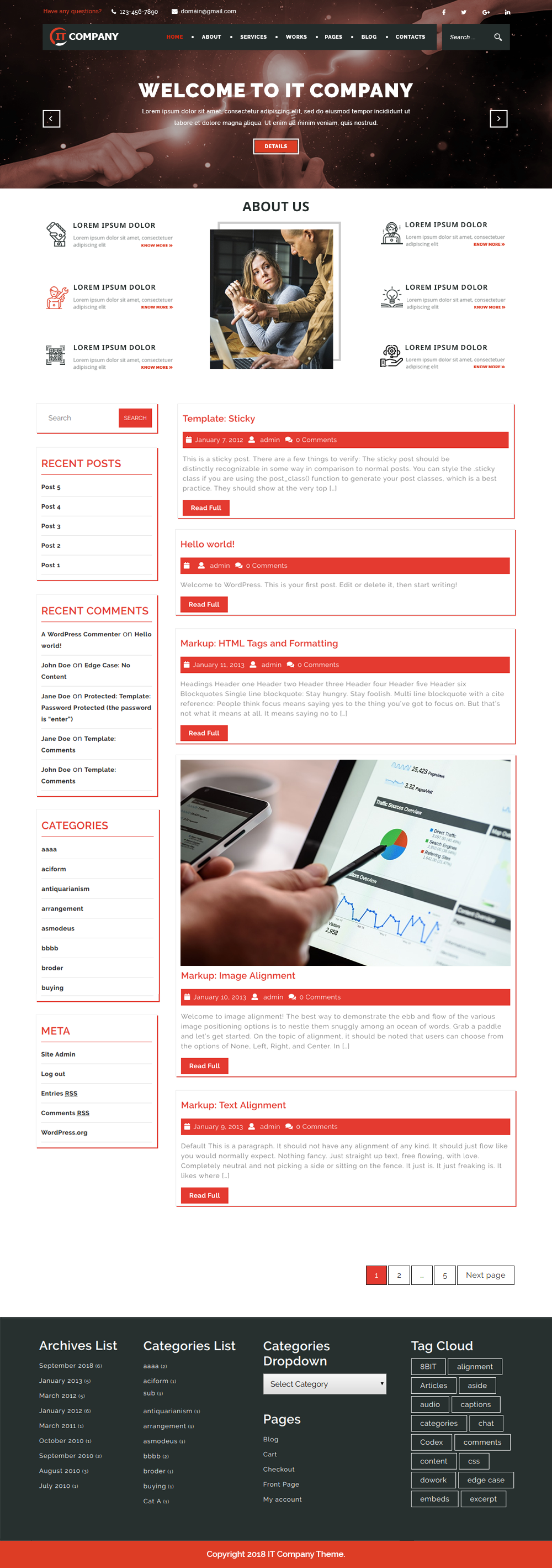 Free IT Company WordPress Theme
