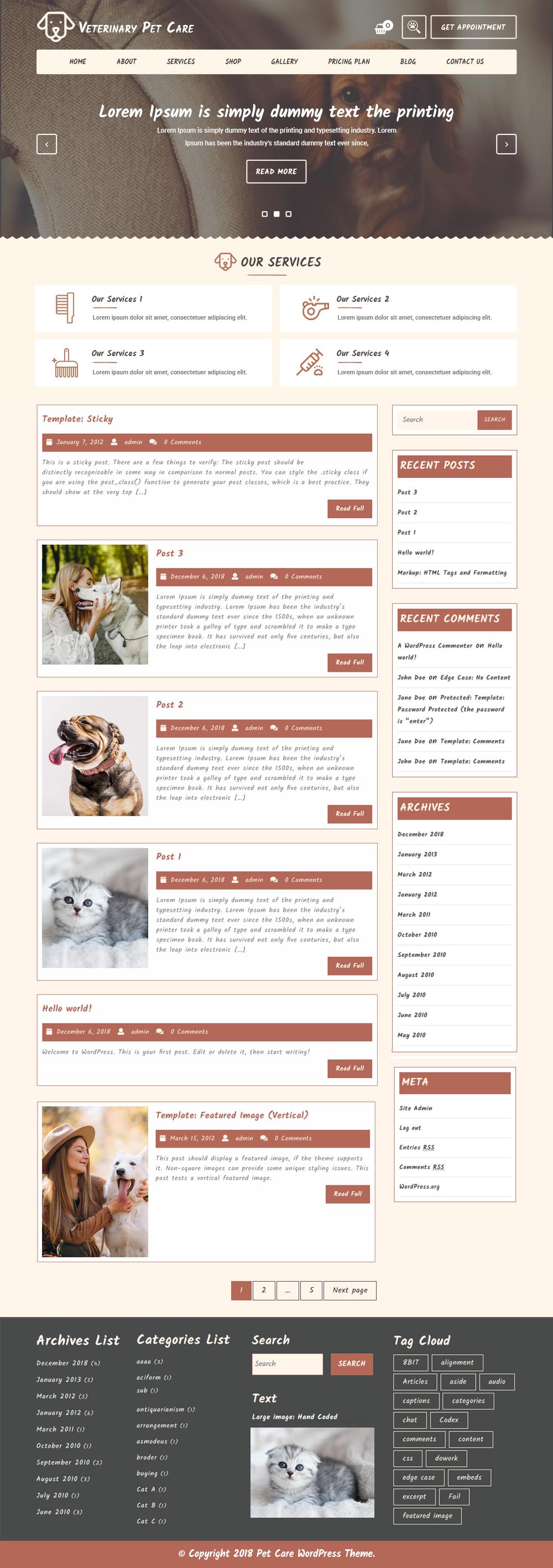 Free Veterinary Pet WordPress Theme