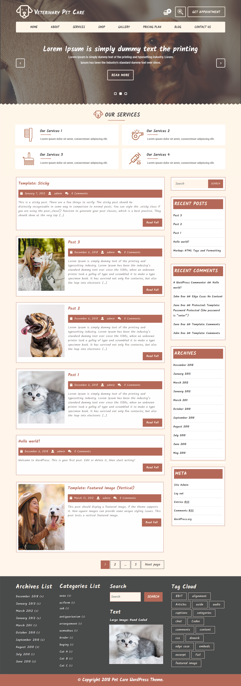 Free Veterinary Pet WordPress Theme